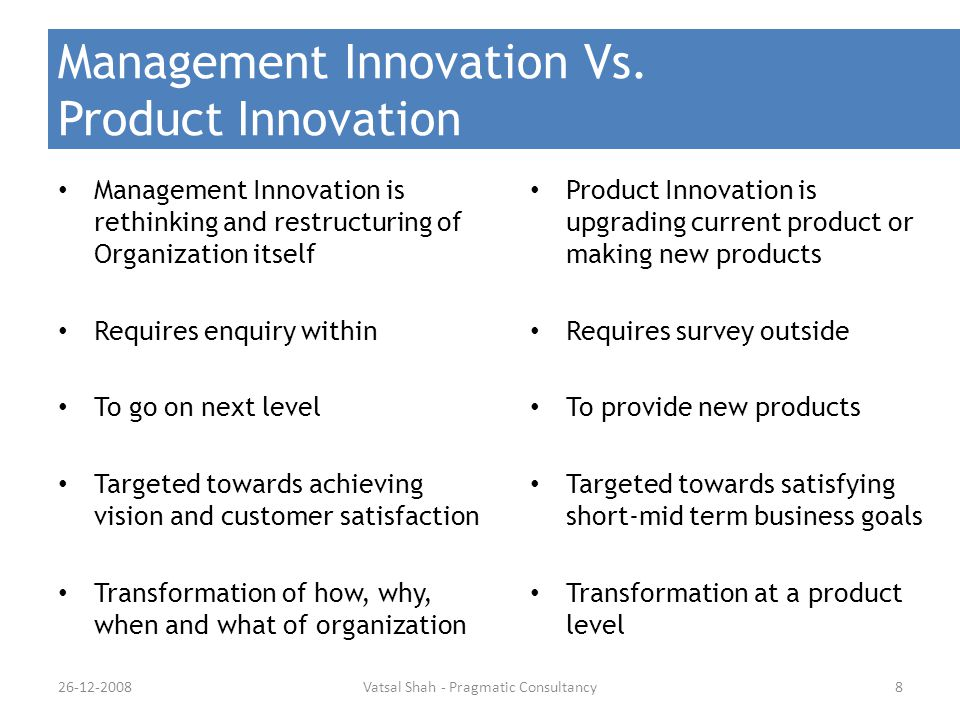 Management Innovation Vs. Product Innovation Management Innovation is rethinking and restructuring of Organization itself Requires enquiry within To g