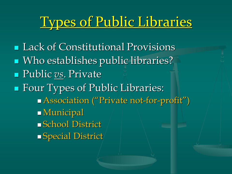 Types of Public Libraries Lack of Constitutional Provisions Lack of Constitutional Provisions Who establishes public libraries.