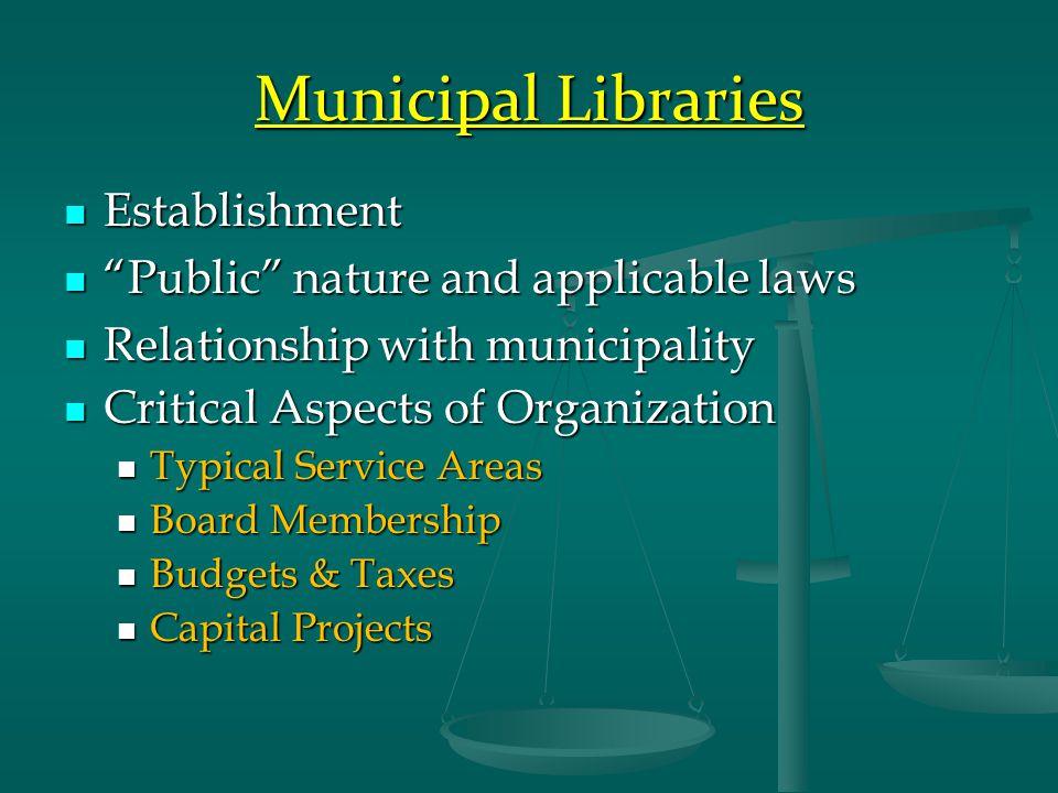 """Municipal Libraries Establishment Establishment """"Public"""" nature and applicable laws """"Public"""" nature and applicable laws Relationship with municipality"""