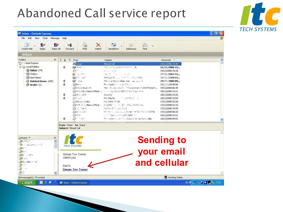 Abandoned Call service report Sending to your email and cellular