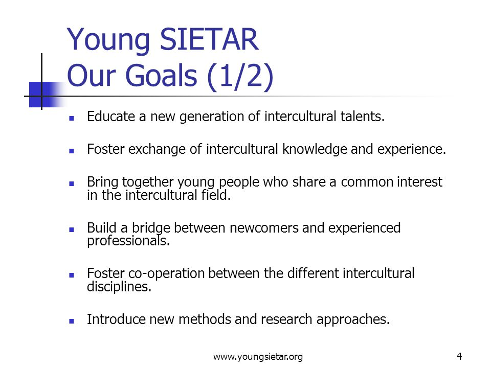 www.youngsietar.org5 Young SIETAR Our Goals (2/2) Provide a forum of interaction between students and young professionals to grow and learn from each other.