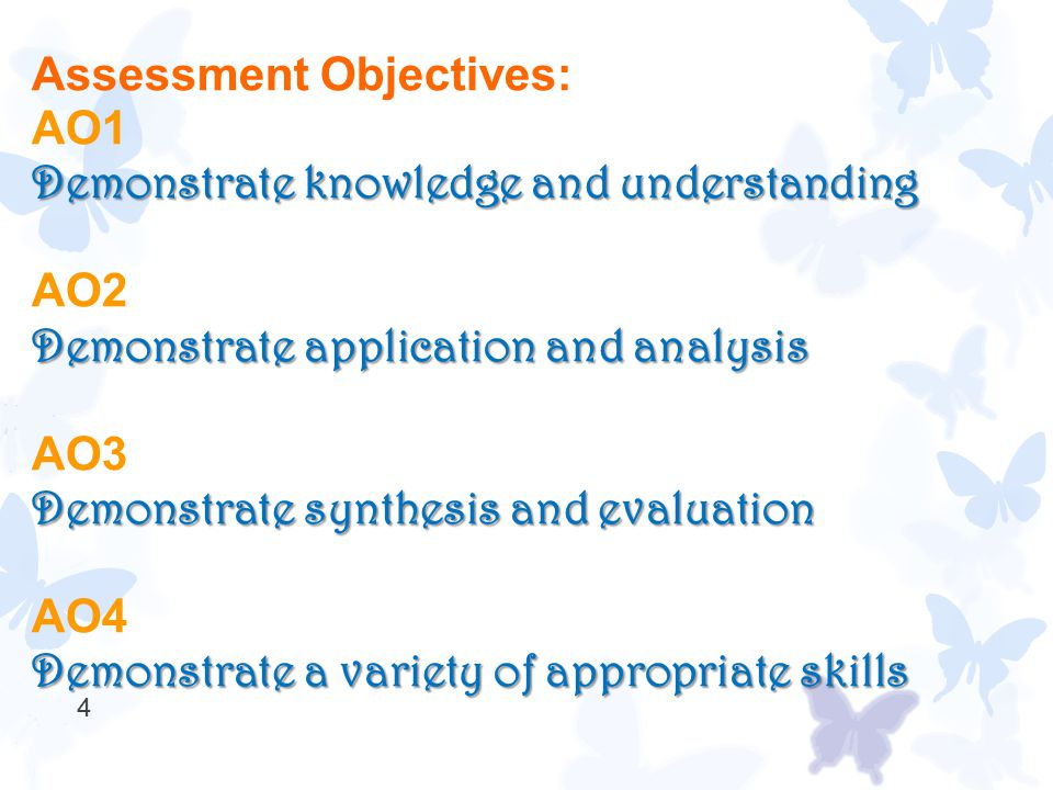 4 Assessment Objectives: AO1 Demonstrate knowledge and understanding AO2 Demonstrate application and analysis AO3 Demonstrate synthesis and evaluation