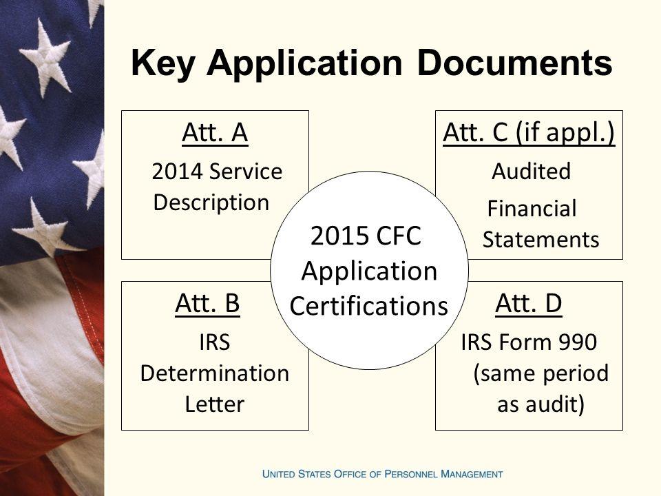 Key Application Documents Att. A 2014 Service Description Att. B IRS Determination Letter Att. C (if appl.) Audited Financial Statements Att. D IRS Fo