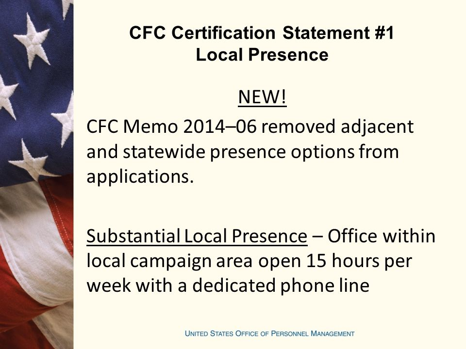 CFC Certification Statement #1 Local Presence NEW.