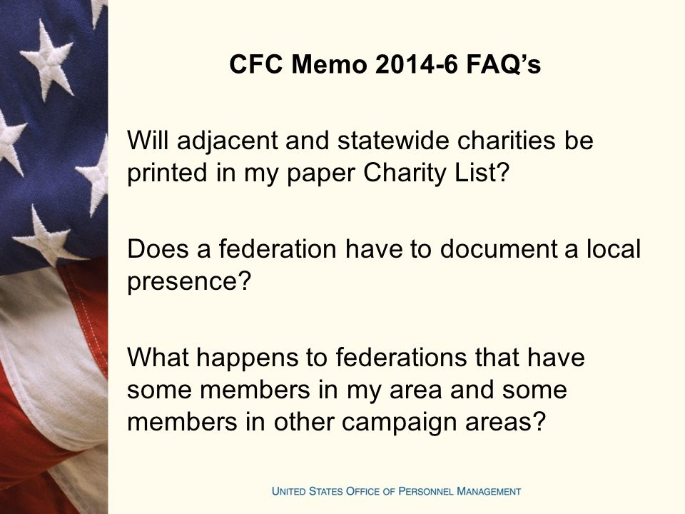 CFC Memo 2014-6 FAQ's Will adjacent and statewide charities be printed in my paper Charity List.