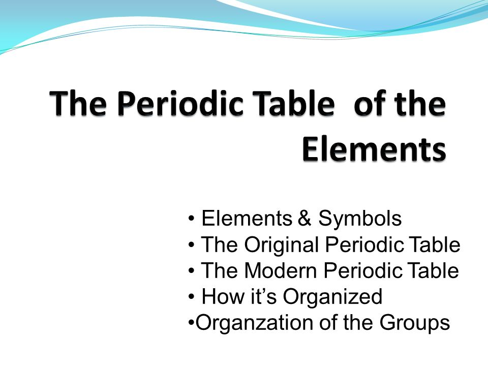 Elements & Symbols The Original Periodic Table The Modern Periodic Table How it's Organized Organzation of the Groups