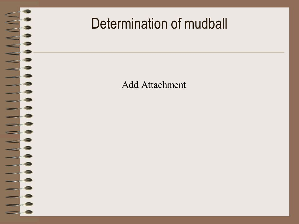 Determination of mudball Add Attachment