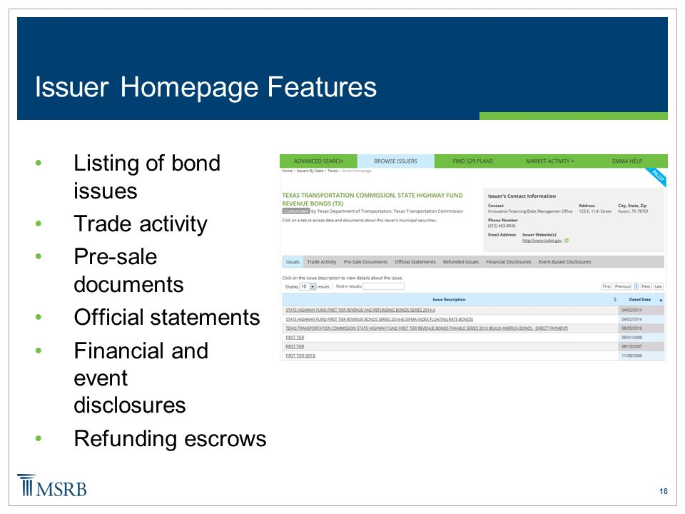 18 Issuer Homepage Features Listing of bond issues Trade activity Pre-sale documents Official statements Financial and event disclosures Refunding escrows