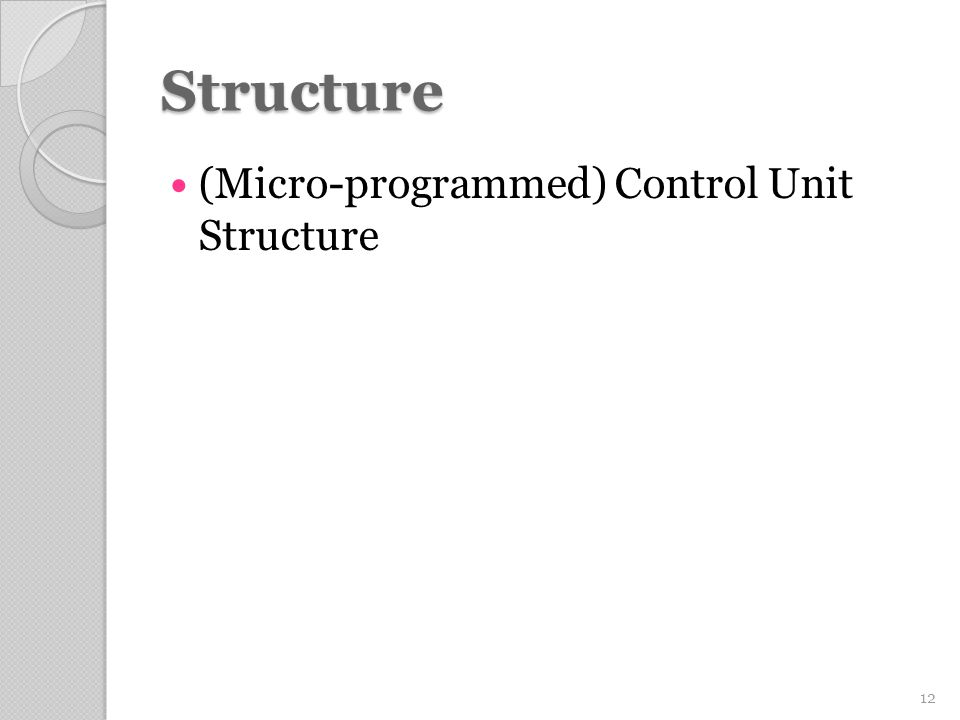 Structure (Micro-programmed) Control Unit Structure 12