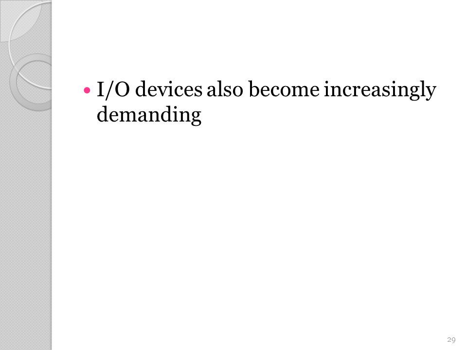 I/O devices also become increasingly demanding 29