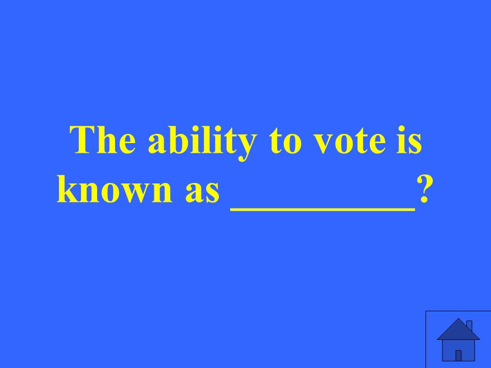 The ability to vote is known as _________