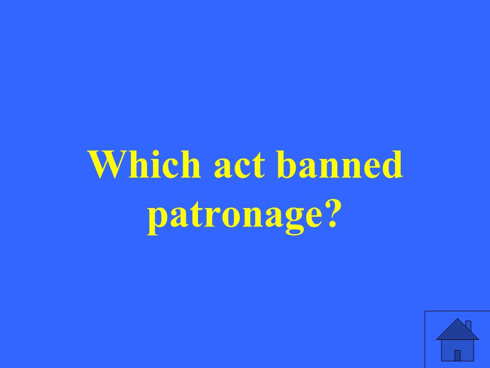 Which act banned patronage