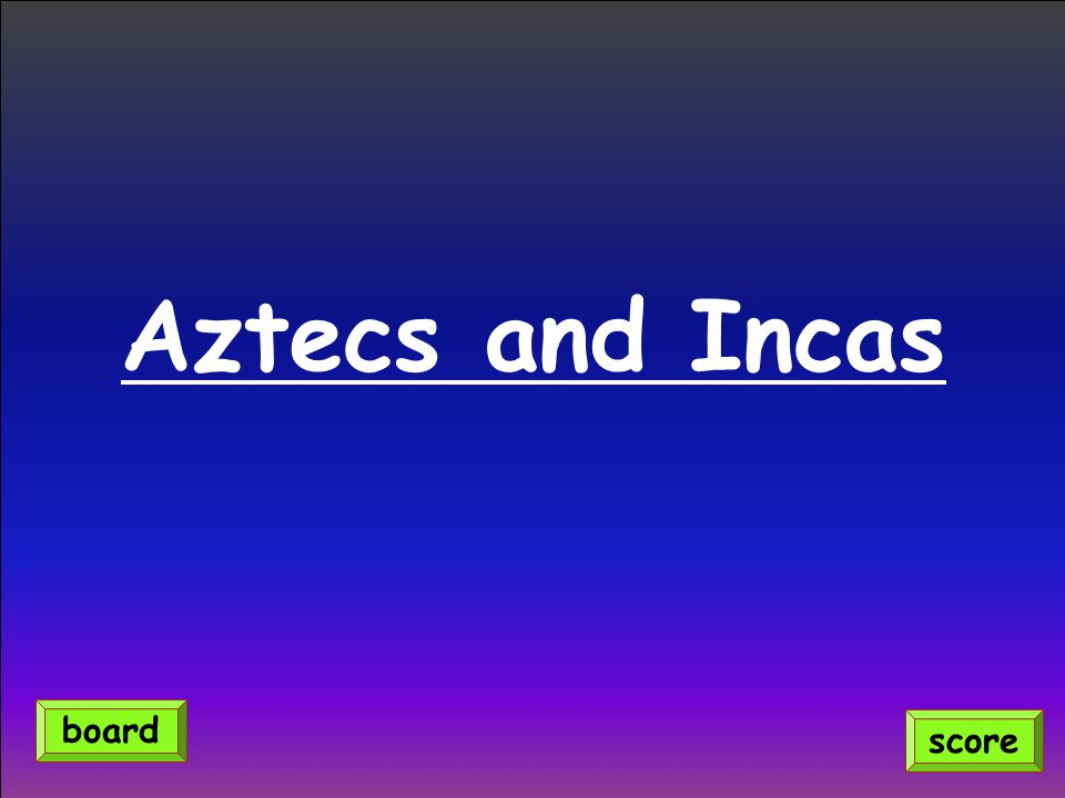 Aztecs and Incas score board