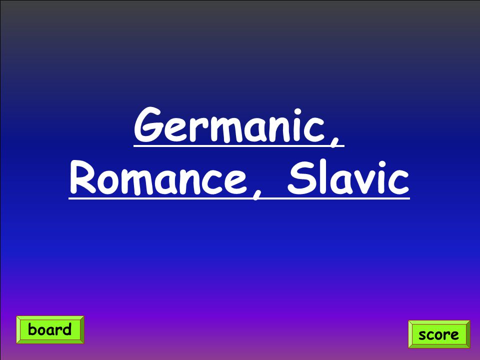 Germanic, Romance, Slavic score board