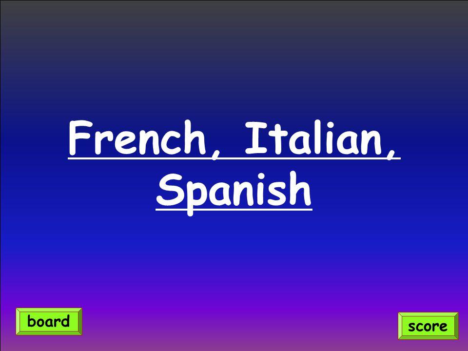 French, Italian, Spanish score board