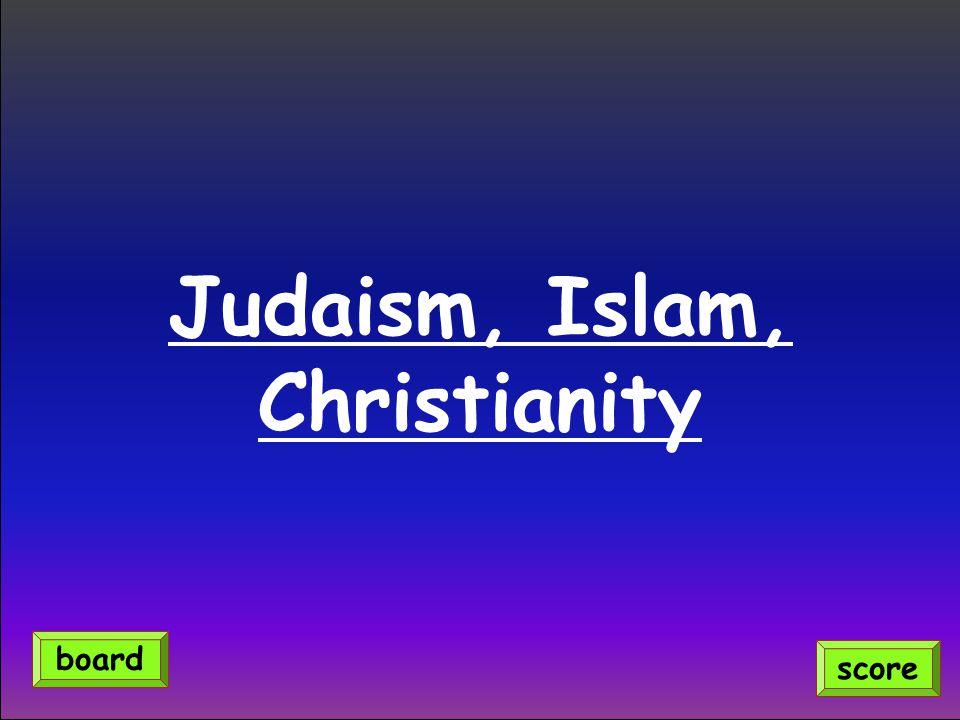 Judaism, Islam, Christianity score board