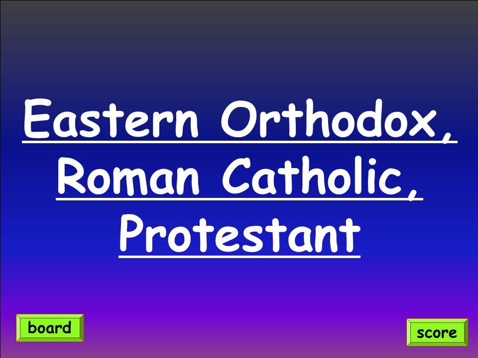 Eastern Orthodox, Roman Catholic, Protestant score board