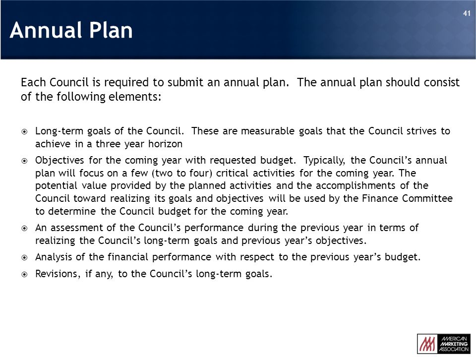 41 Each Council is required to submit an annual plan.
