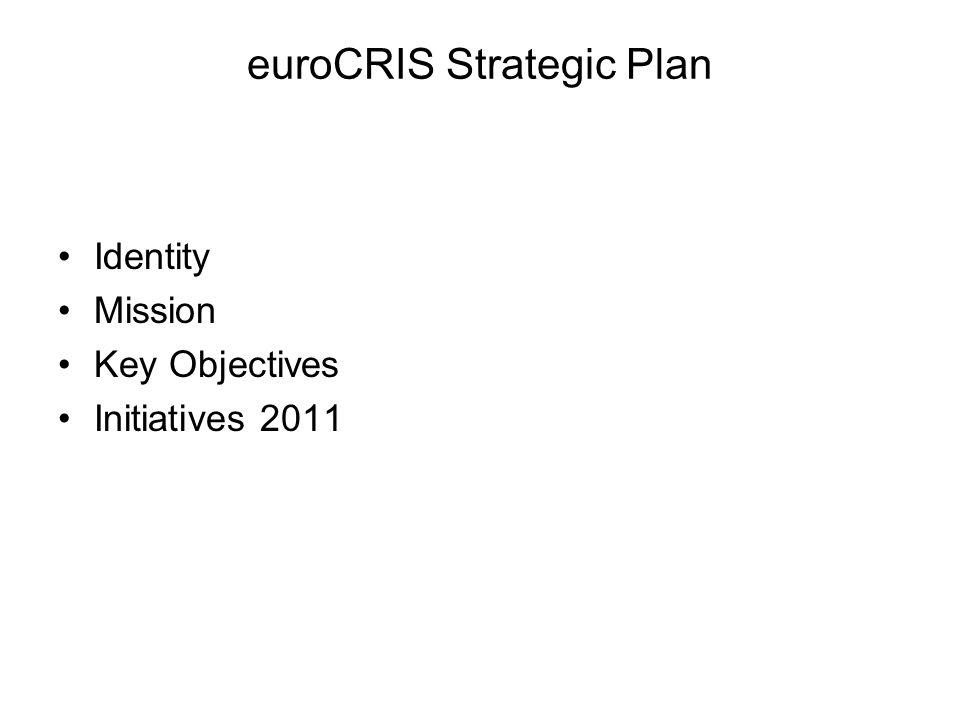 euroCRIS Strategic Plan Identity Mission Key Objectives Initiatives 2011