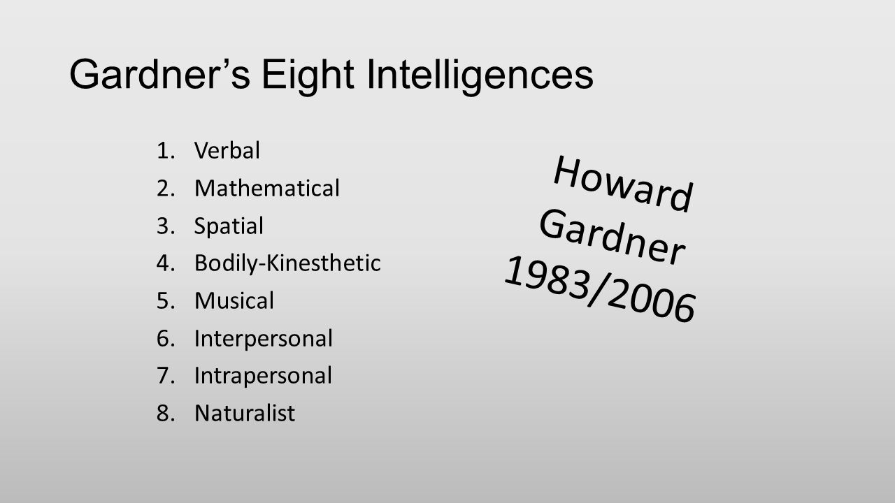 Gardner's Eight Intelligences 1.Verbal 2.Mathematical 3.Spatial 4.Bodily-Kinesthetic 5.Musical 6.Interpersonal 7.Intrapersonal 8.Naturalist Howard Gardner 1983/2006
