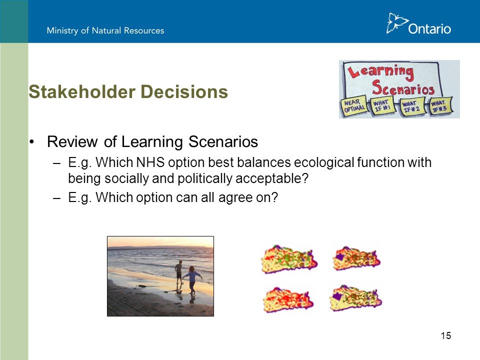 15 Stakeholder Decisions Review of Learning Scenarios –E.g.