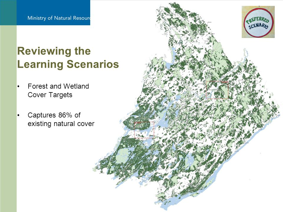 19 Forest and Wetland Cover Targets Captures 86% of existing natural cover Reviewing the Learning Scenarios