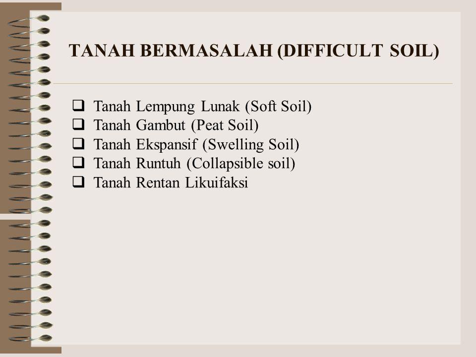 TANAH BERMASALAH (DIFFICULT SOIL)  Tanah Lempung Lunak (Soft Soil)  Tanah Gambut (Peat Soil)  Tanah Ekspansif (Swelling Soil)  Tanah Runtuh (Colla