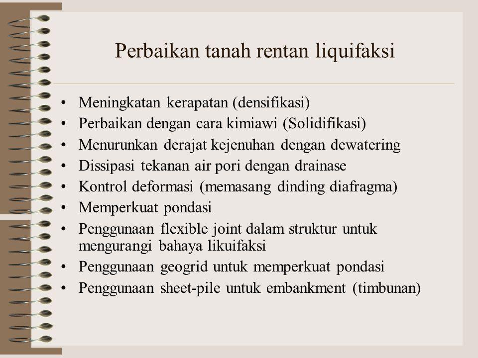 Perbaikan tanah rentan liquifaksi Meningkatan kerapatan (densifikasi) Perbaikan dengan cara kimiawi (Solidifikasi) Menurunkan derajat kejenuhan dengan