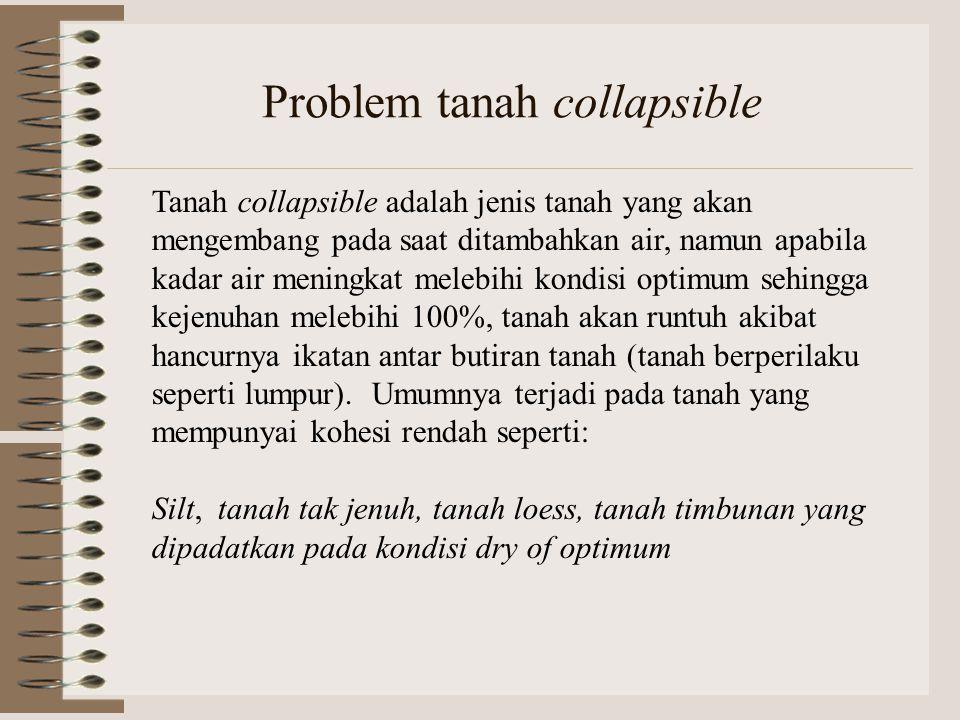 Problem tanah collapsible Tanah collapsible adalah jenis tanah yang akan mengembang pada saat ditambahkan air, namun apabila kadar air meningkat meleb