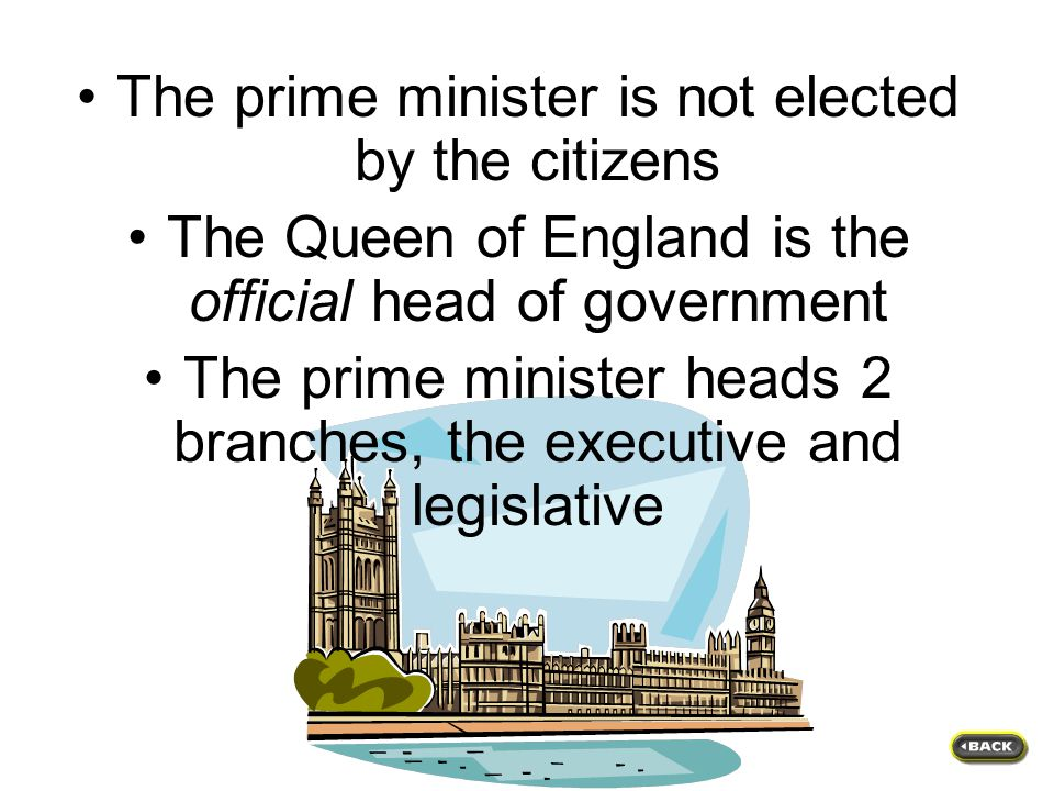 The government of Canada is unlike that of the United States in several ways…. Name 2 differences
