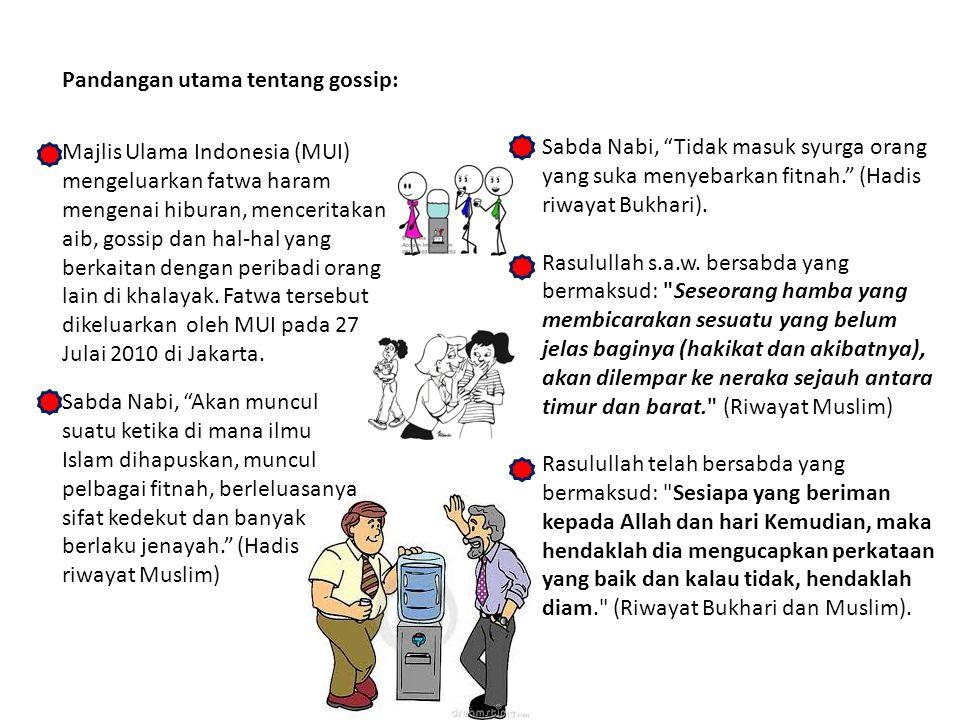 Majlis Ulama Indonesia (MUI) mengeluarkan fatwa haram mengenai hiburan, menceritakan aib, gossip dan hal-hal yang berkaitan dengan peribadi orang lain di khalayak.