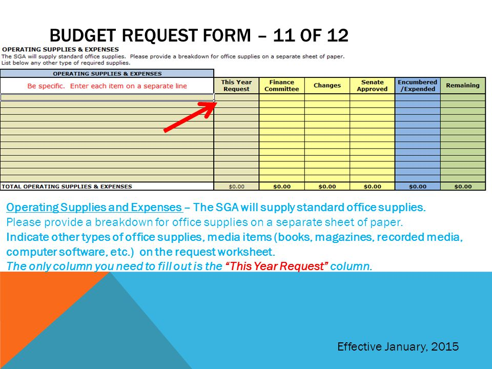 BUDGET REQUEST FORM – 11 OF 12 Operating Supplies and Expenses – The SGA will supply standard office supplies.