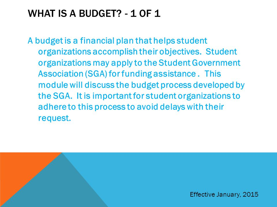 WHAT IS A BUDGET? - 1 OF 1 A budget is a financial plan that helps student organizations accomplish their objectives. Student organizations may apply