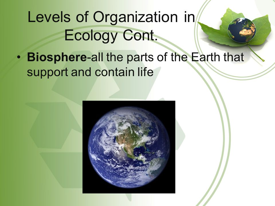 Levels of Organization in Ecology Cont. Biosphere-all the parts of the Earth that support and contain life
