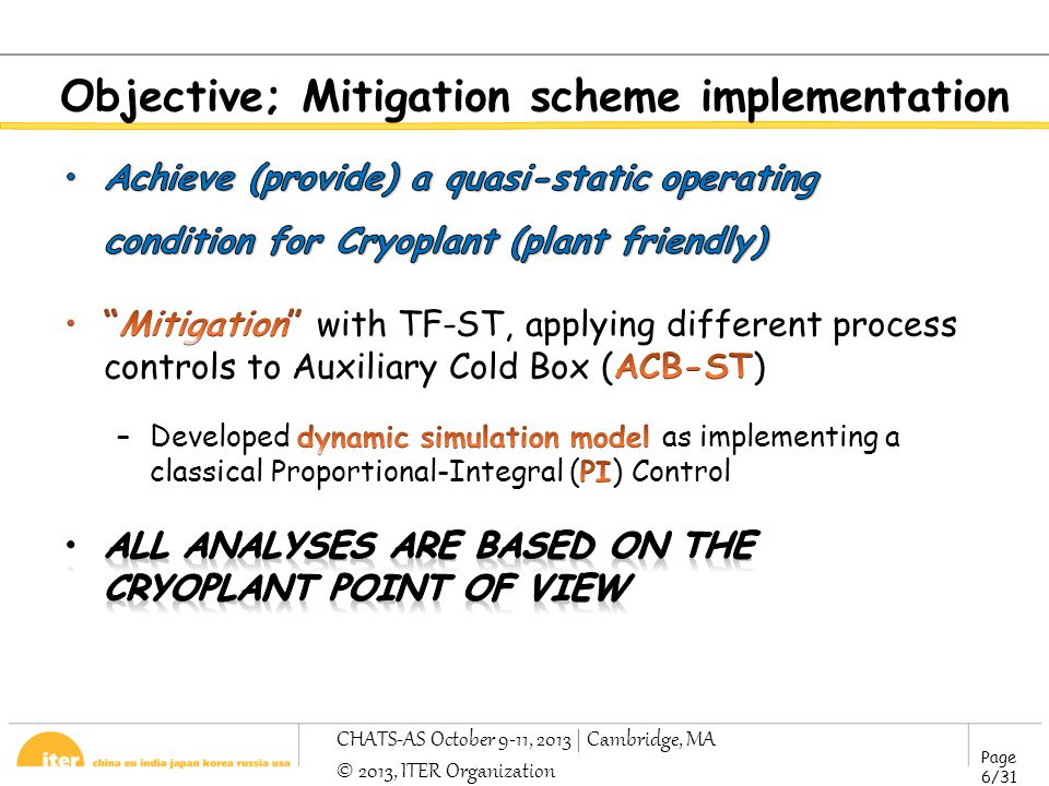 Page 6/31 CHATS-AS October 9-11, 2013 | Cambridge, MA © 2013, ITER Organization Objective; Mitigation scheme implementation