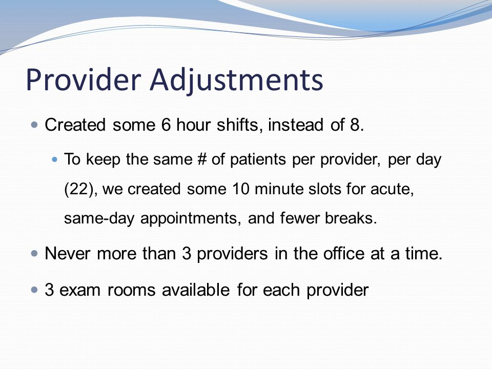 Provider Adjustments Created some 6 hour shifts, instead of 8. To keep the same # of patients per provider, per day (22), we created some 10 minute sl