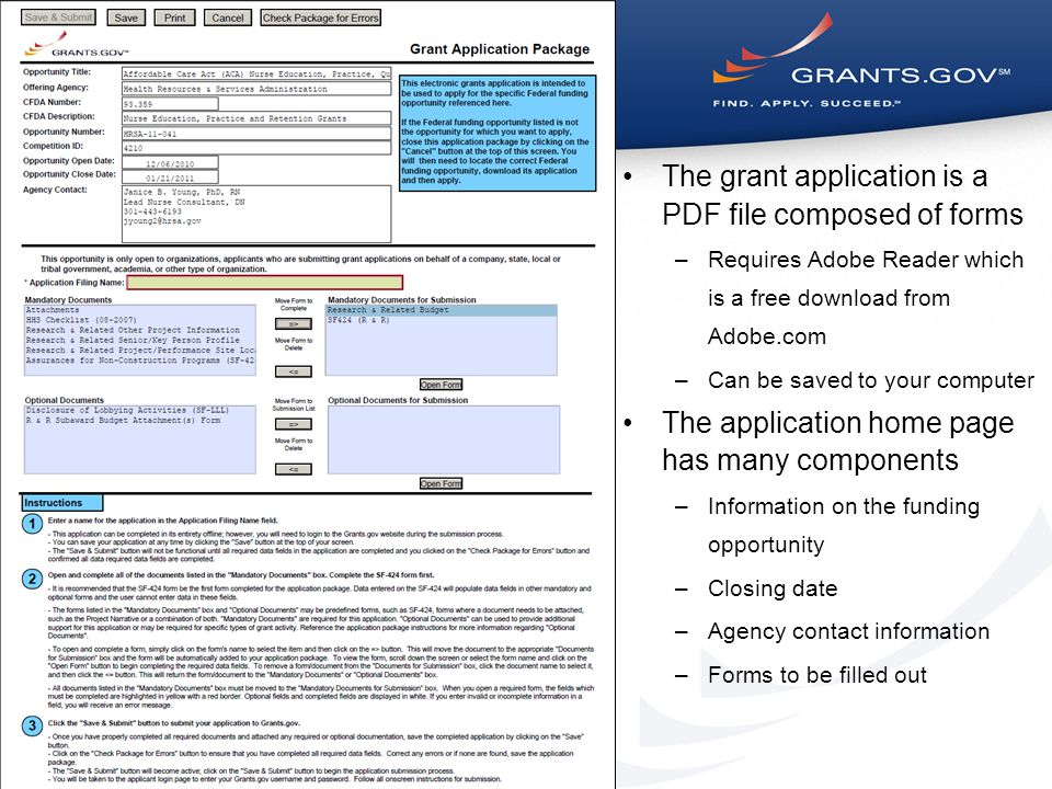 The grant application is a PDF file composed of forms –Requires Adobe Reader which is a free download from Adobe.com –Can be saved to your computer The application home page has many components –Information on the funding opportunity –Closing date –Agency contact information –Forms to be filled out