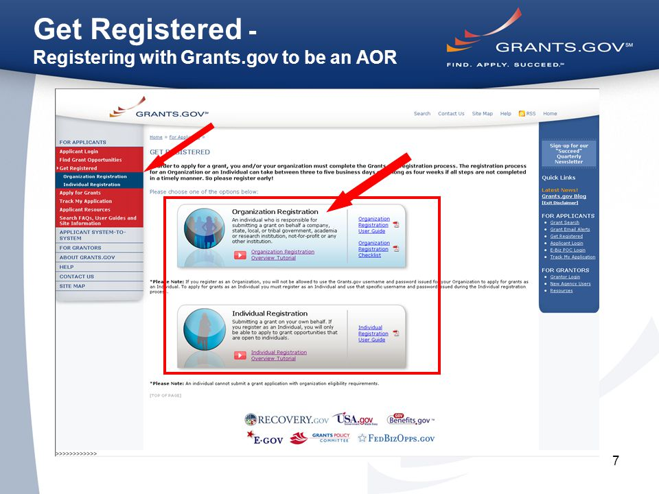 7 Get Registered - Registering with Grants.gov to be an AOR