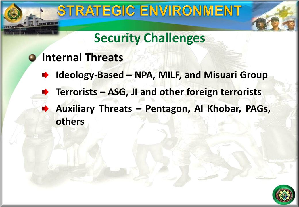 Internal Threats Ideology-Based – NPA, MILF, and Misuari Group Terrorists – ASG, JI and other foreign terrorists Auxiliary Threats – Pentagon, Al Khob