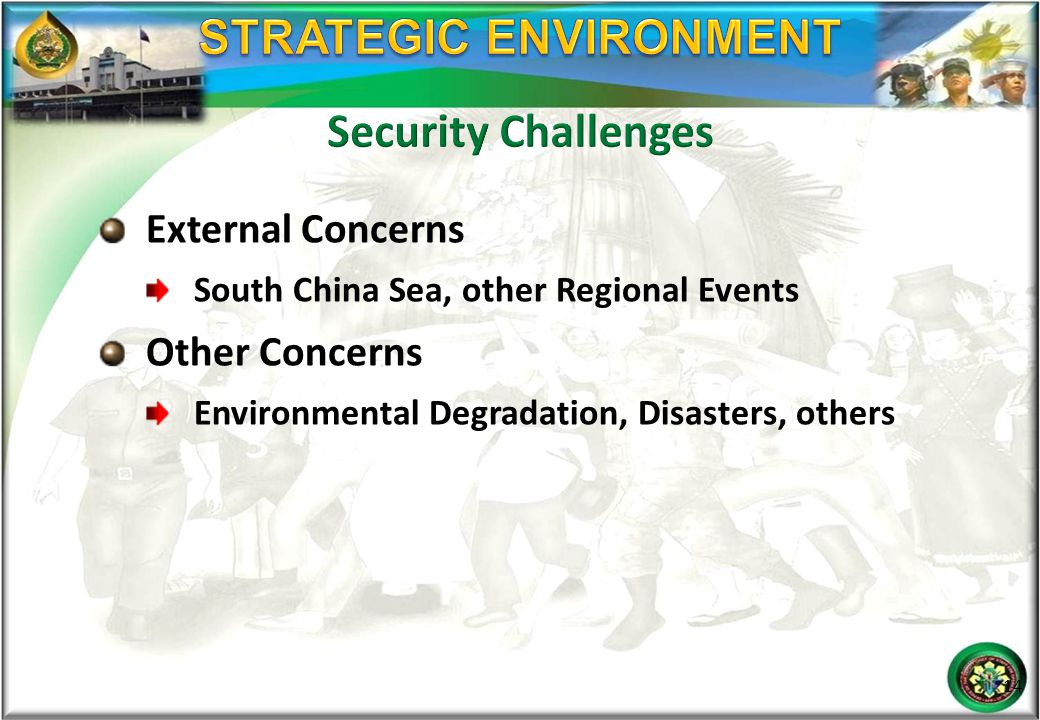 External Concerns South China Sea, other Regional Events Other Concerns Environmental Degradation, Disasters, others 14