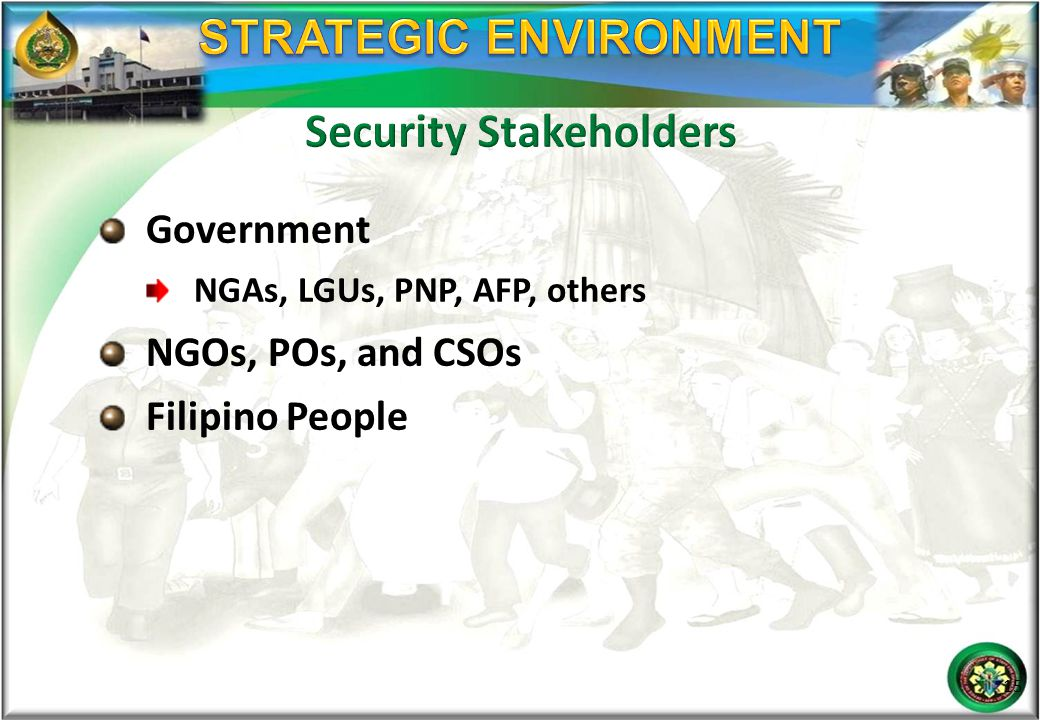 Government NGAs, LGUs, PNP, AFP, others NGOs, POs, and CSOs Filipino People 15