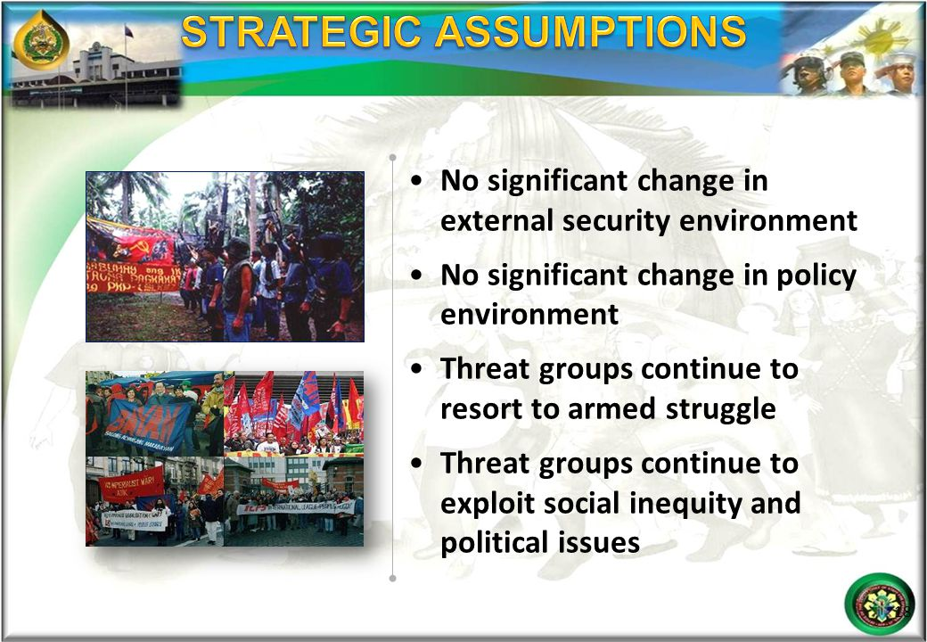No significant change in external security environment No significant change in policy environment Threat groups continue to resort to armed struggle