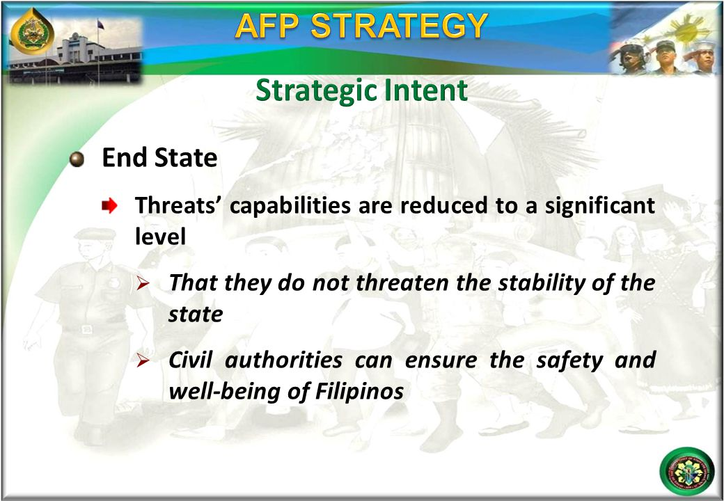 End State Threats' capabilities are reduced to a significant level  That they do not threaten the stability of the state  Civil authorities can ensu