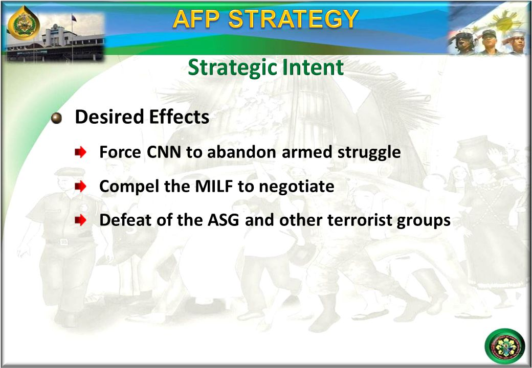 Desired Effects Force CNN to abandon armed struggle Compel the MILF to negotiate Defeat of the ASG and other terrorist groups 22