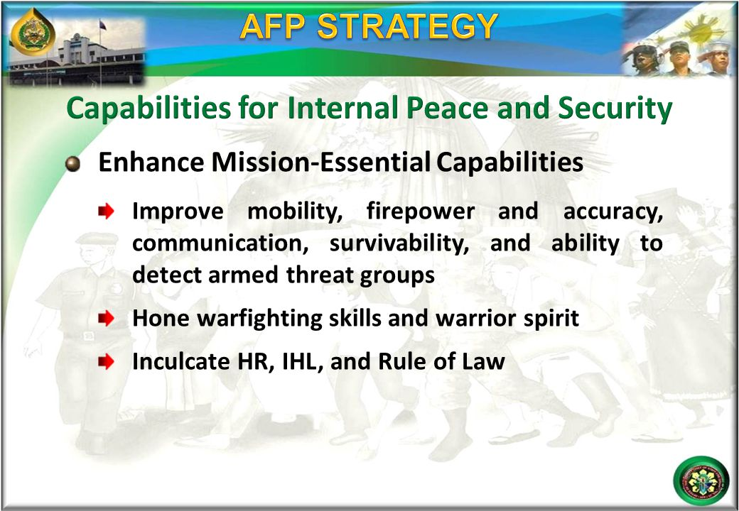 Enhance Mission-Essential Capabilities Improve mobility, firepower and accuracy, communication, survivability, and ability to detect armed threat grou