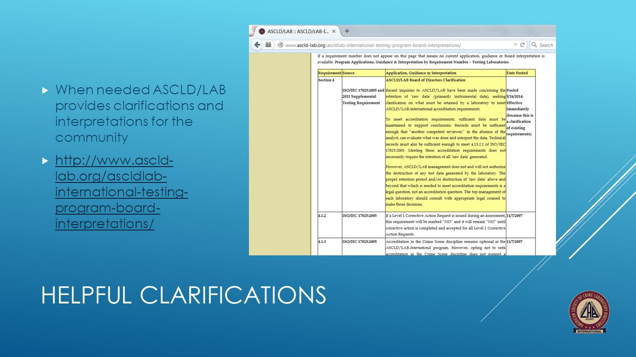 HELPFUL CLARIFICATIONS  When needed ASCLD/LAB provides clarifications and interpretations for the community  http://www.ascld- lab.org/ascldlab- int