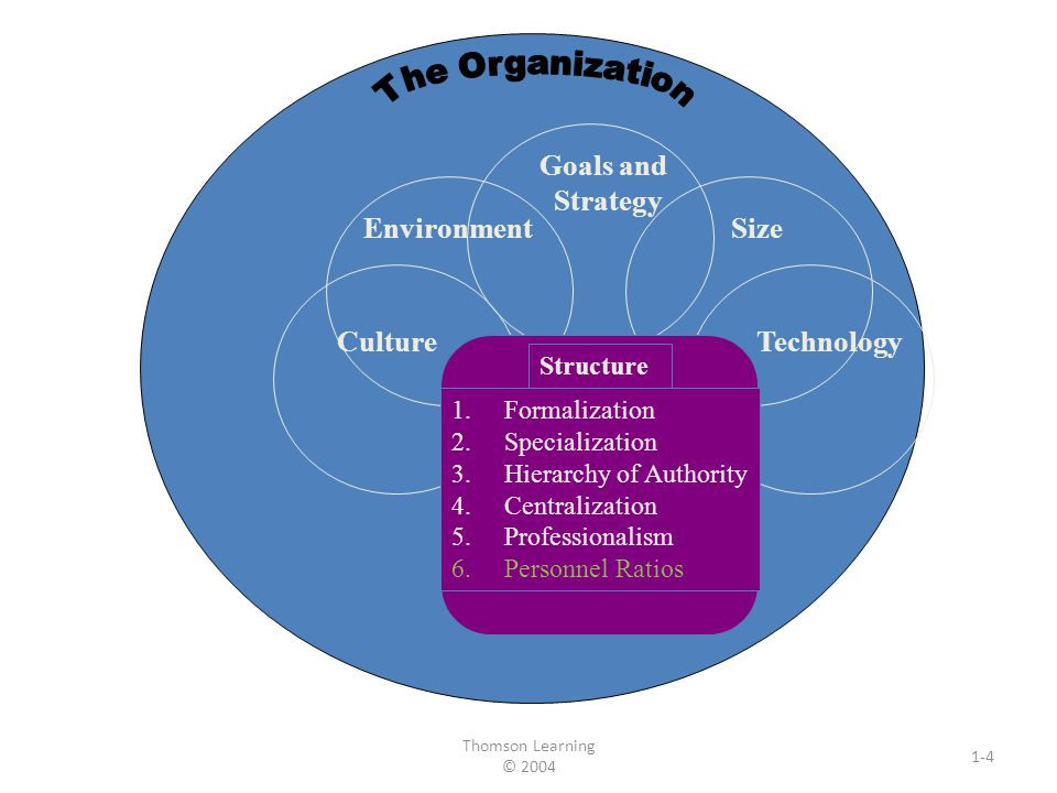 Thomson Learning © 2004 1-4 Goals and Strategy EnvironmentSize Culture Technology Structure 1.Formalization 2.Specialization 3.Hierarchy of Authority