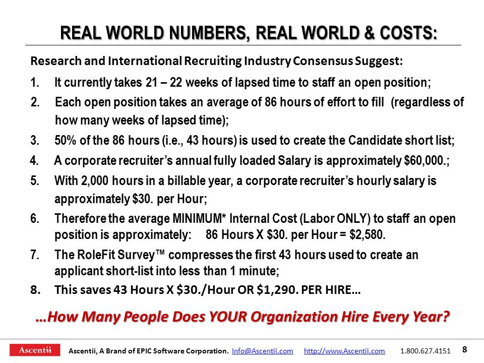 REAL WORLD NUMBERS, REAL WORLD & COSTS: Research and International Recruiting Industry Consensus Suggest: 5.With 2,000 hours in a billable year, a corporate recruiter's hourly salary is approximately $30.