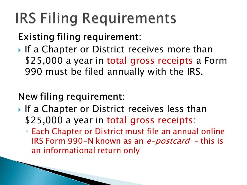 Existing filing requirement:  If a Chapter or District receives more than $25,000 a year in total gross receipts a Form 990 must be filed annually with the IRS.