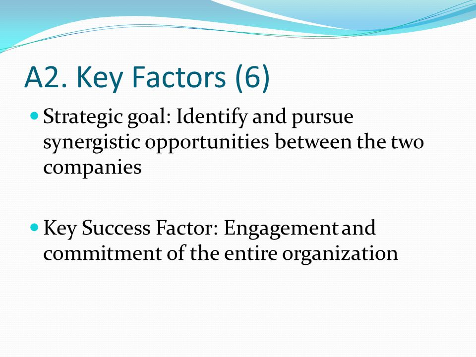 A2. Key Factors (6) Strategic goal: Identify and pursue synergistic opportunities between the two companies Key Success Factor: Engagement and commitm